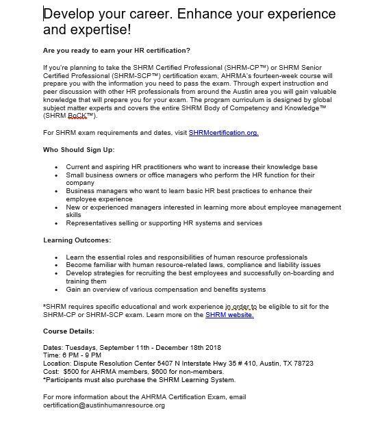 Austin Human Resource Management Association Career Development